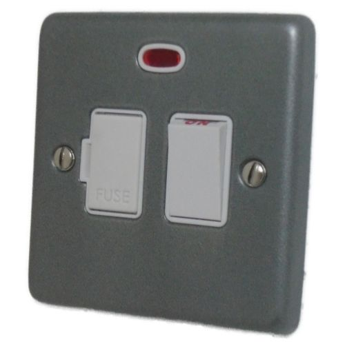 G&H CP27W Standard Plate Pewter 1 Gang Fused Spur 13A Switched & Neon
